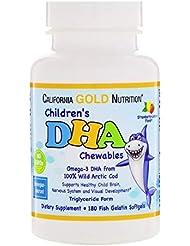 California Gold Nutrition お子様のDHAチュアブル 100% 天然北極タラ イチゴ レモン 味 フィッシュ ゼラチン ソフトジェル 180粒 【アメリカ直送】