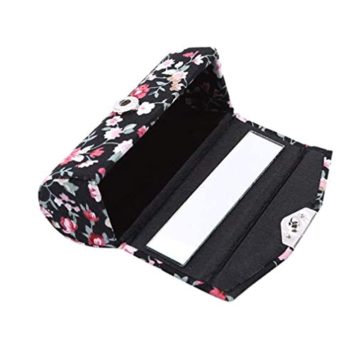 1st market 口紅ケースレトロ刺繍入り花柄付きミラーリップグロスボックスジュエリー収納ボックス、ブラック高品質