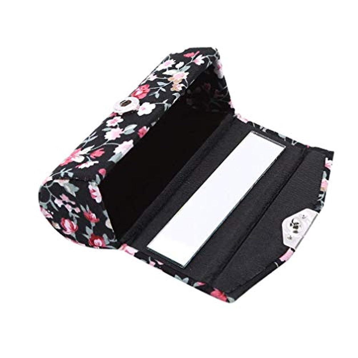 豚関数怖い1st market 口紅ケースレトロ刺繍入り花柄付きミラーリップグロスボックスジュエリー収納ボックス、ブラック高品質