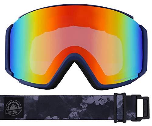 ICEPARDAL(アイスパーダル) スノーボード ゴーグル フレームレス レディース 平面ワイドレンズ 曇り止め ダブルレンズ 簡単脱着 UVカット99 IBP-892H ネイビー/クラウドB(R) FREEサイズ スキーゴーグル スキー スノーゴーグル