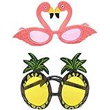 Amosfun パイナップルフラミンゴサングラス2ピースハワイアンパーティーサングラス面白いフルーツメガネ子供のための装飾大人のビーチパーティーの装飾(フラミンゴ1 +パイナップル1)