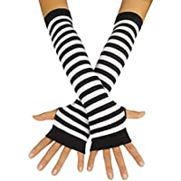 Chengfengup Women's Cable Knit Fingerless Arm Warmers Skull Thumb Hole Gloves Mittens