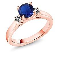 Gem Stone King 1.20カラット シミュレイテッド サファイア 天然 ダイヤモンド シルバー925 ピンクゴールドコーティング 指輪 リング