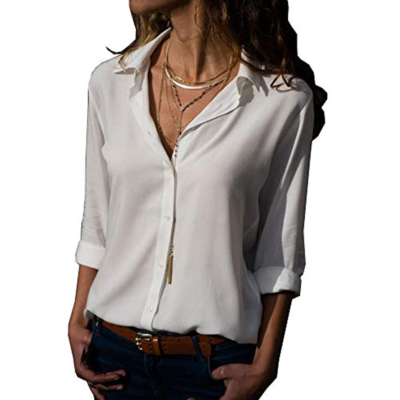 MIFAN ルーズシャツ、トップス&Tシャツ、プラスサイズ、トップス&ブラウス、シフォンブラウス、女性トップス、シフォンシャツ