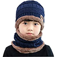 Upstore 1Se(2PCS Unisex Kids Children(3-12 Years Old) Thicken Plush Knitting Winter Warm Beanie Hat Scarf Set Circle Collar Scarf Kids Slouchy Skull Cap for Ski Cycling Outdoor Sports, boys, Blue, Small