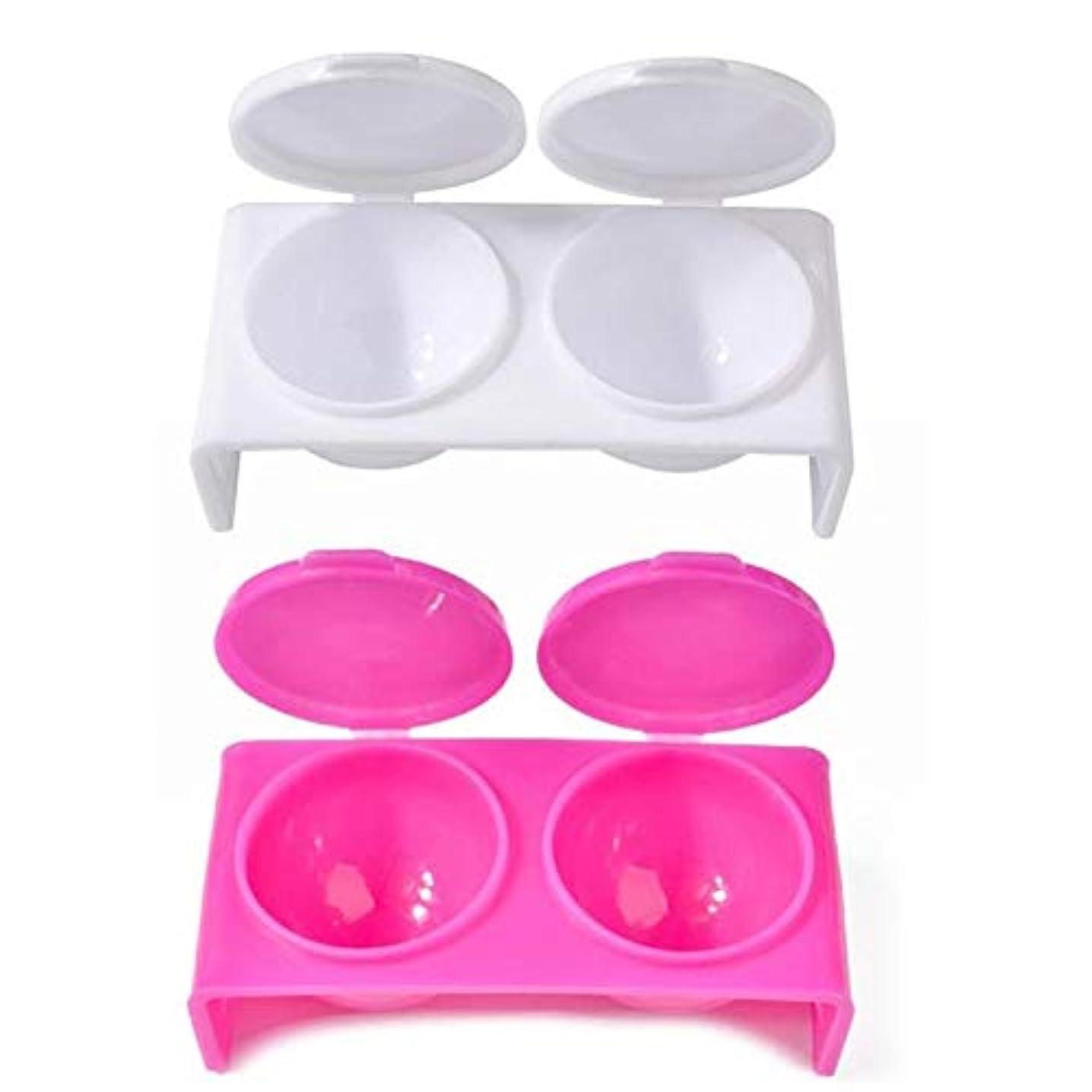 エゴマニアボトルネック勤勉Murakush ネイルカップ 1ペア ポータブル ピンク 白 プラスチック ダブルオープニングペン 洗浄ツール 化粧ツール