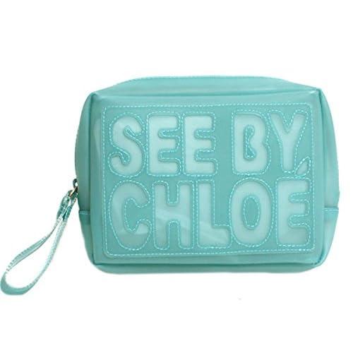 (シーバイクロエ) SEE BY CHLOE 財布 ポーチ ロゴ ZIP FILE ジップファイル ビニール 9P7020 P72 670 JADE ライトブルー