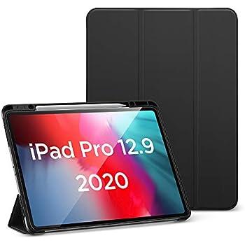 ESR iPad Pro 12.9 ケース 2020 Pencilホルダー付き ソフトフレキシブルTPUバックカバー付き オートスリープ/ウェイク 角度調節可能なスタンド Apple Pencil収納可 iPad Pro 12.9 2020年専用(ブラック)