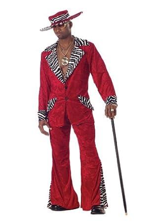 Pimp Red Crushed Velvet Adult Costume ポンレッド破砕ベルベットの大人用コスチューム♪ハロウィン♪サイズ:Large (42-44)