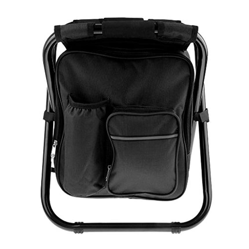 温度計落ち着いた扇動するPerfeclan 折り畳み式バックパック 椅子 キャンプ 釣り ハイキング クーラーバッグ付き 多用途