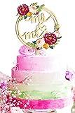Lumierechat 結婚式 ウェディング ケーキトッパー ウェディングケーキ ケーキ トッパー 飾り 木製 Mr&Mrs デコレーション a-b4760 (L-カラーサークルMr&Mrs)