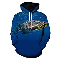 BMY パーカー3Dデジタル印刷海洋動物フード付きセーター