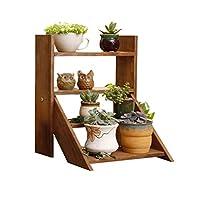 XLSM デスク小さな木製フラワースタンドの交換棚はスケールオフィスウィンドウ鉢植えの表示は、装飾ブラウン屋内屋内屋外ラックラックラダー フラワースタンド
