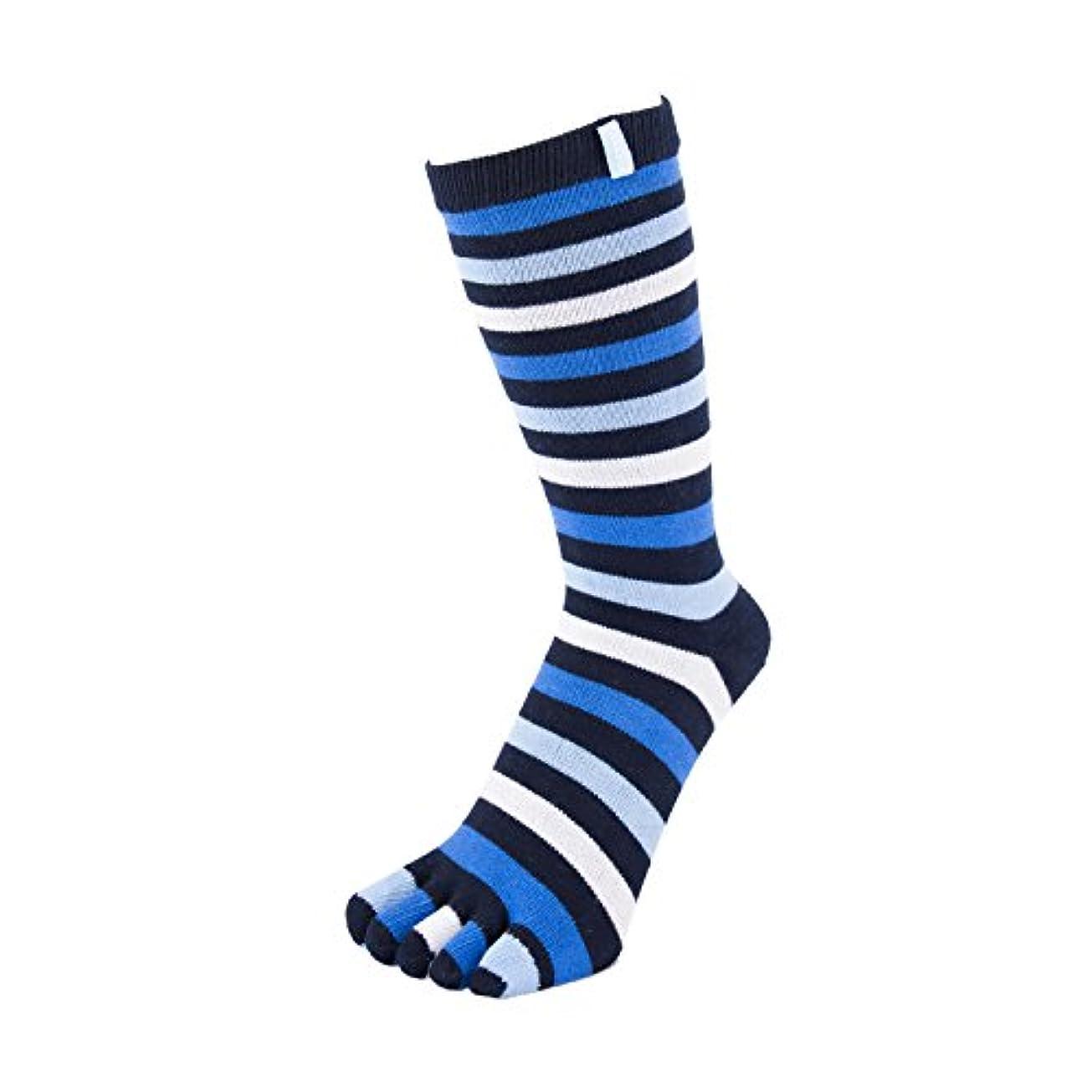 歴史的引き出し運命的なTOETOE - ESSENTIAL - Mid-Calf Stripy Toe Socks (UK 4-11   EU 36-46, Denim)