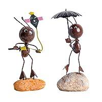 PETSOLA アイアンアント 金属 蟻の工芸品 本棚 テレビデコレーション 2個セット 全3タイプ - b