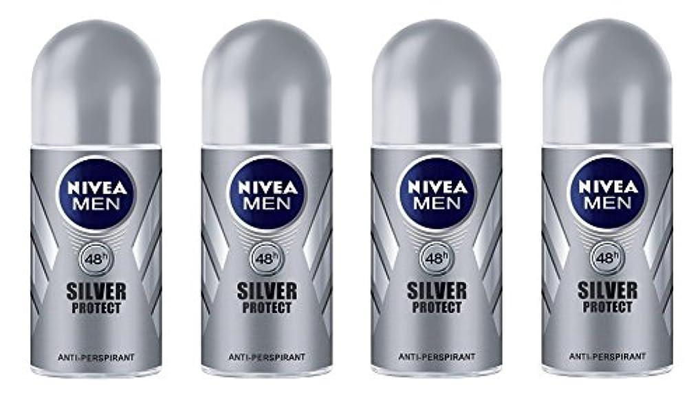 補正長くするアレイ(Pack of 4) Nivea Silver Protect Anti-perspirant Deodorant Roll On for Men 4x50ml - (4パック) ニベア銀保護する制汗剤デオドラントロールオン男性用4x50ml