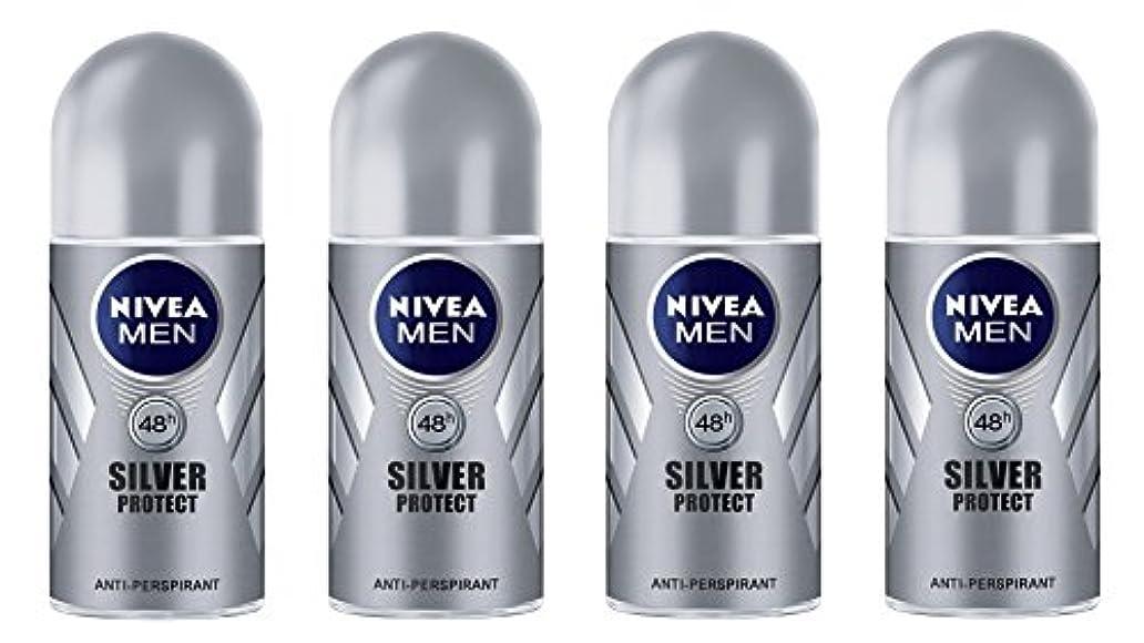 ロック解除オーブン冷酷な(Pack of 4) Nivea Silver Protect Anti-perspirant Deodorant Roll On for Men 4x50ml - (4パック) ニベア銀保護する制汗剤デオドラントロールオン...