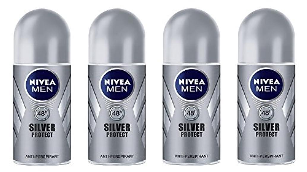 趣味拍車流用する(Pack of 4) Nivea Silver Protect Anti-perspirant Deodorant Roll On for Men 4x50ml - (4パック) ニベア銀保護する制汗剤デオドラントロールオン...
