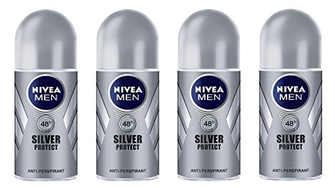 対人リゾートスチール(Pack of 4) Nivea Silver Protect Anti-perspirant Deodorant Roll On for Men 4x50ml - (4パック) ニベア銀保護する制汗剤デオドラントロールオン...