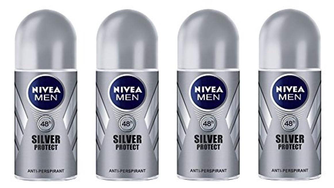 起きるオーディション銃(Pack of 4) Nivea Silver Protect Anti-perspirant Deodorant Roll On for Men 4x50ml - (4パック) ニベア銀保護する制汗剤デオドラントロールオン...