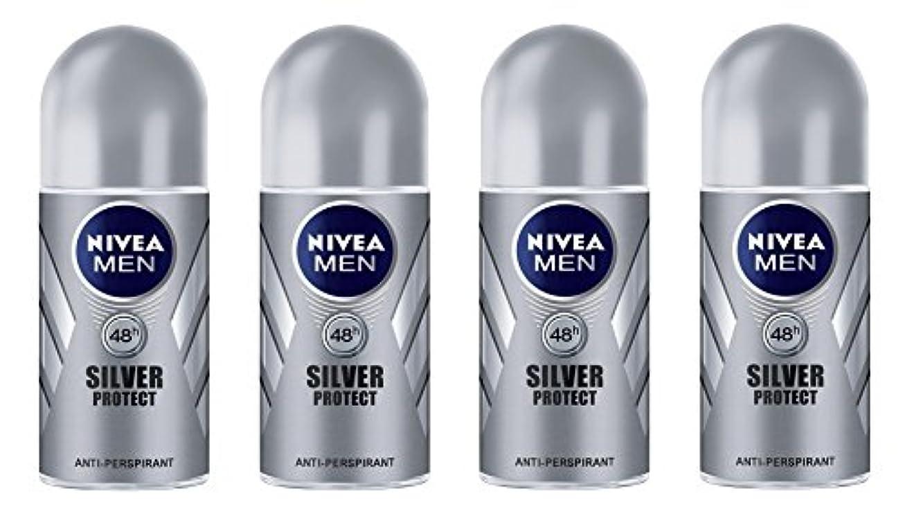 サロンそっと読みやすさ(Pack of 4) Nivea Silver Protect Anti-perspirant Deodorant Roll On for Men 4x50ml - (4パック) ニベア銀保護する制汗剤デオドラントロールオン...