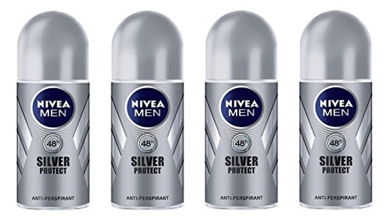 はっきりしない残基交通(Pack of 4) Nivea Silver Protect Anti-perspirant Deodorant Roll On for Men 4x50ml - (4パック) ニベア銀保護する制汗剤デオドラントロールオン...