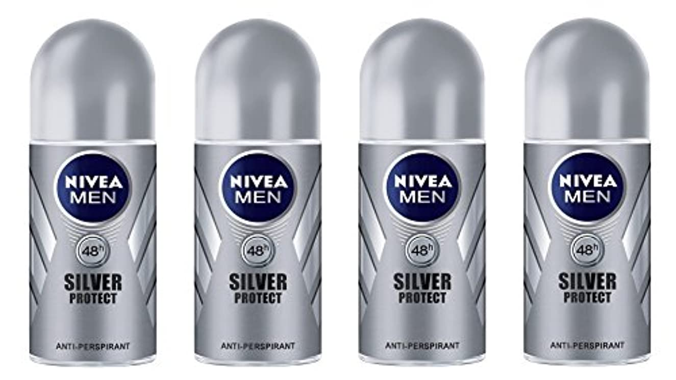 電池希望に満ちた傾く(Pack of 4) Nivea Silver Protect Anti-perspirant Deodorant Roll On for Men 4x50ml - (4パック) ニベア銀保護する制汗剤デオドラントロールオン...