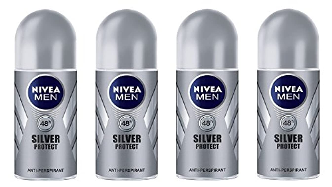 禁止パニックギャンブル(Pack of 4) Nivea Silver Protect Anti-perspirant Deodorant Roll On for Men 4x50ml - (4パック) ニベア銀保護する制汗剤デオドラントロールオン...