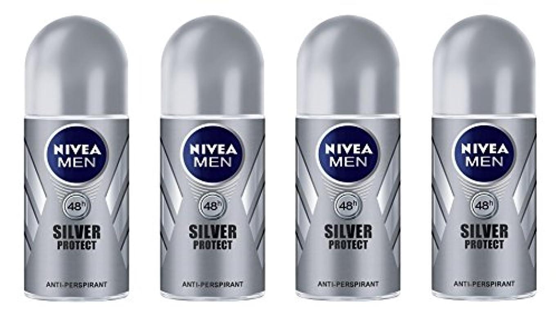 昇るマイクロ音(Pack of 4) Nivea Silver Protect Anti-perspirant Deodorant Roll On for Men 4x50ml - (4パック) ニベア銀保護する制汗剤デオドラントロールオン...