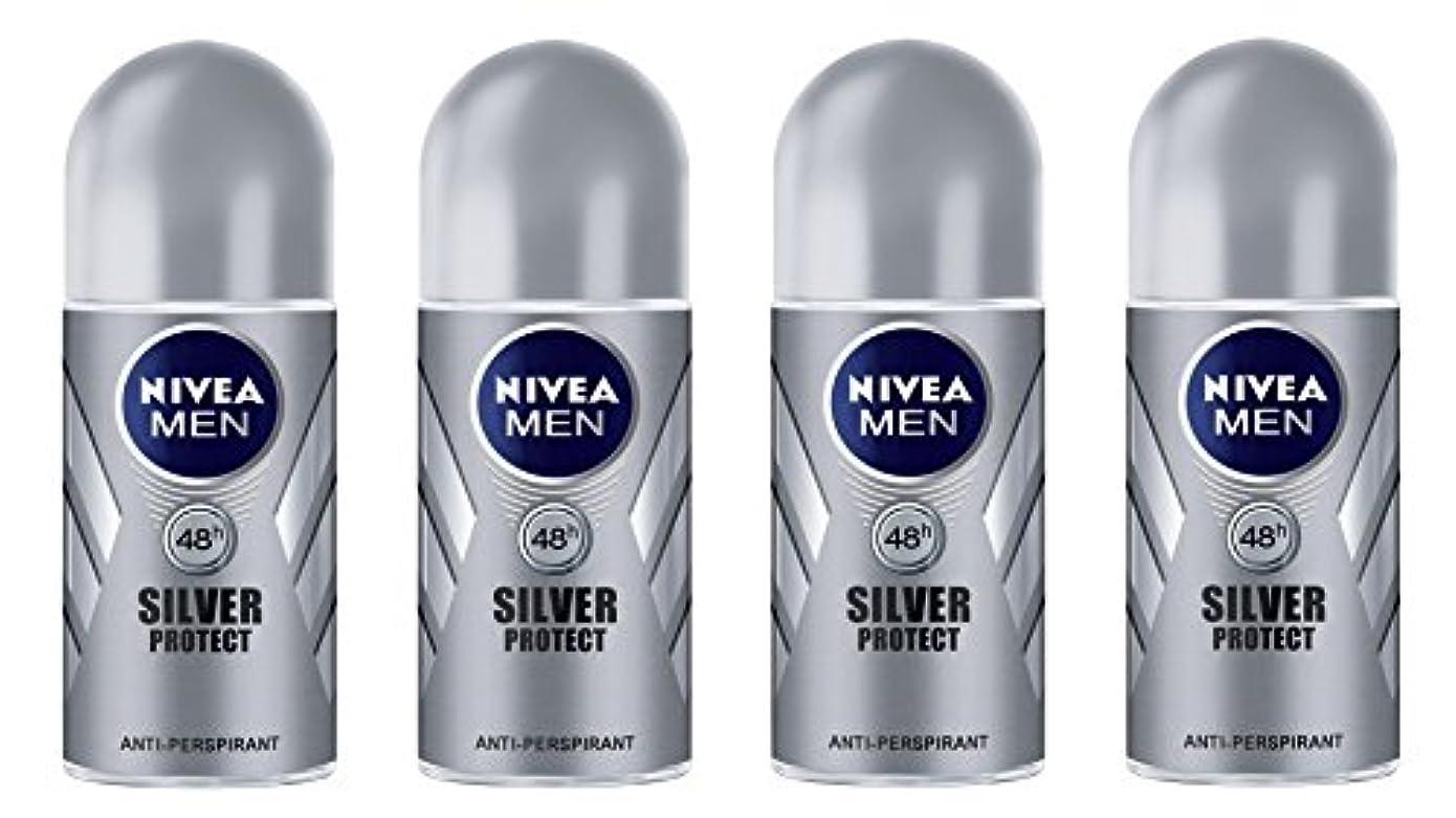間シングル静的(Pack of 4) Nivea Silver Protect Anti-perspirant Deodorant Roll On for Men 4x50ml - (4パック) ニベア銀保護する制汗剤デオドラントロールオン...