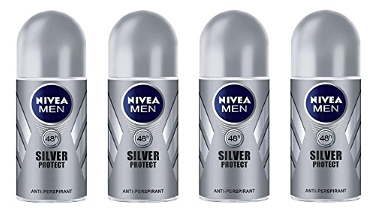 対称キャンパス固執(Pack of 4) Nivea Silver Protect Anti-perspirant Deodorant Roll On for Men 4x50ml - (4パック) ニベア銀保護する制汗剤デオドラントロールオン...