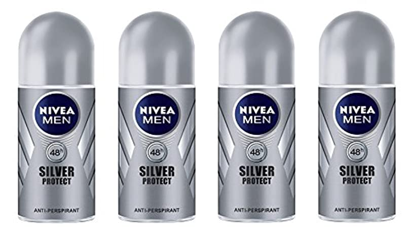 ハードウェアメッセンジャー小売(Pack of 4) Nivea Silver Protect Anti-perspirant Deodorant Roll On for Men 4x50ml - (4パック) ニベア銀保護する制汗剤デオドラントロールオン...