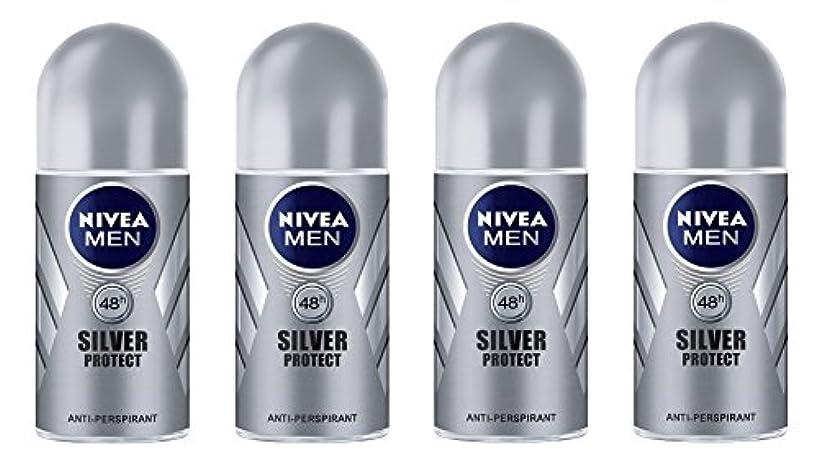 正しく安息建築家(Pack of 4) Nivea Silver Protect Anti-perspirant Deodorant Roll On for Men 4x50ml - (4パック) ニベア銀保護する制汗剤デオドラントロールオン...