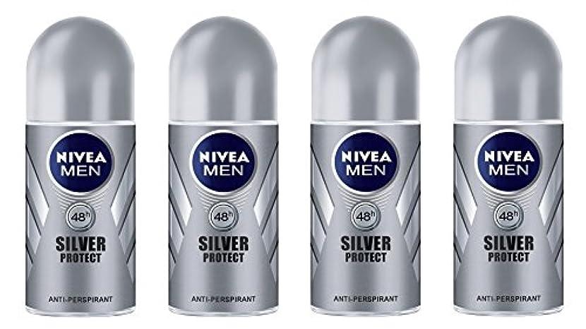 近傍クレデンシャルゴージャス(Pack of 4) Nivea Silver Protect Anti-perspirant Deodorant Roll On for Men 4x50ml - (4パック) ニベア銀保護する制汗剤デオドラントロールオン...