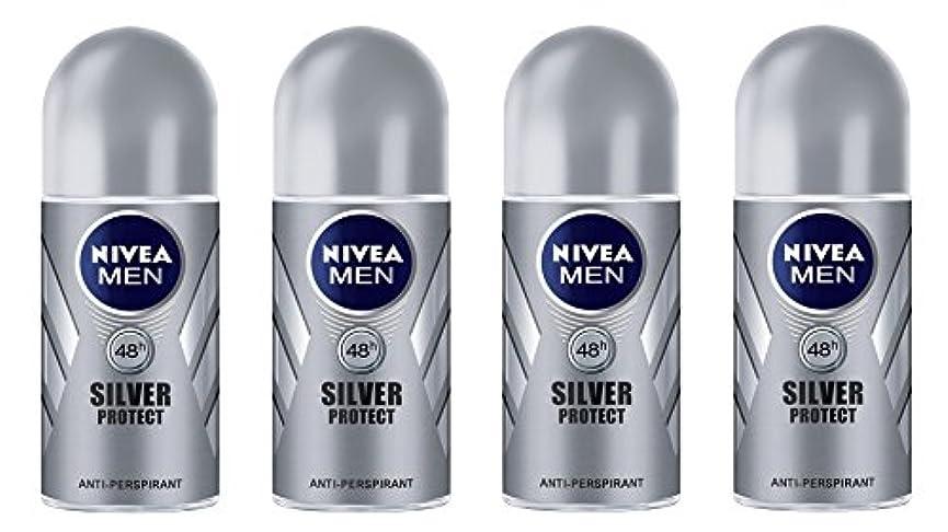 呼び起こす火山学者してはいけません(Pack of 4) Nivea Silver Protect Anti-perspirant Deodorant Roll On for Men 4x50ml - (4パック) ニベア銀保護する制汗剤デオドラントロールオン...