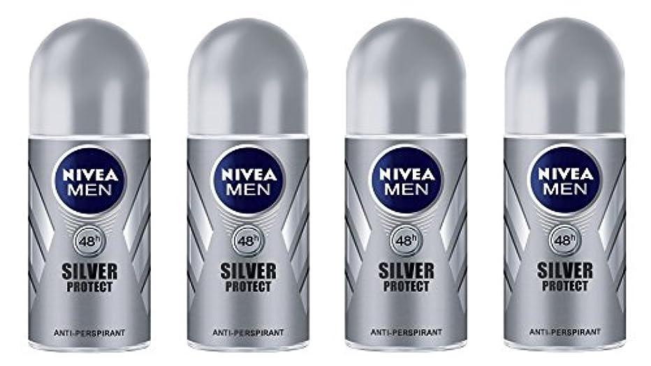 十分です不忠アコード(Pack of 4) Nivea Silver Protect Anti-perspirant Deodorant Roll On for Men 4x50ml - (4パック) ニベア銀保護する制汗剤デオドラントロールオン男性用4x50ml