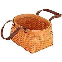 TeFuAnAn バスケット 天然 木製 織りバスケット 収納バスケット 収納ボックス 保存容器 家庭用ストレージ 野菜のフルーツバスケット ショッピング ピクニックバスケット
