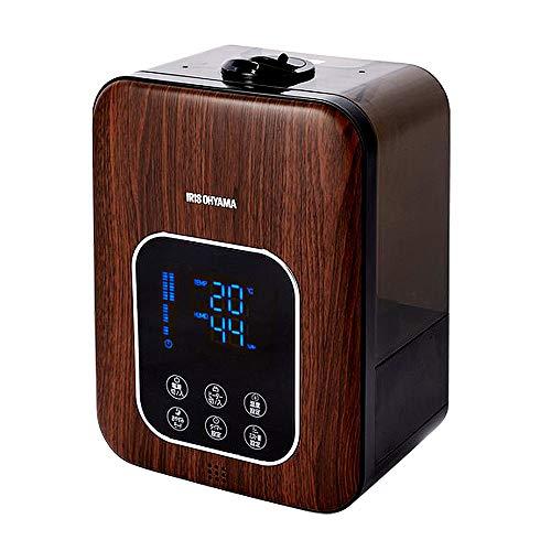 アイリスオーヤマ ハイブリッド式 加湿器 超音波式 + 加熱式 リモコン付 アロマオイル対応 デジタル表示 ミスト3段階 湿度設定可 切タイマー付 大容量 卓上 木目ダーク PH-UH35-MD