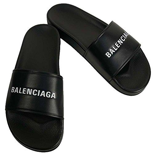(バレンシアガ) BALENCIAGA シャワーサンダル フラットサンダル エンボスロゴ 506347-WAL00-1006 ブラック【40】 【並行輸入品】