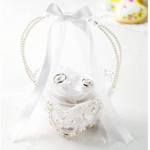 【手作りキット】フィオーレシリーズ バラメリアのリングピロー ビーズバスケット(ホワイト)【結婚式の手芸パック リングボーイに最適】