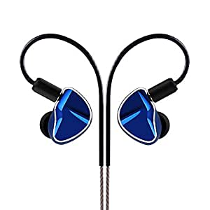 Yinyoo D2B4 イヤモニ型 イヤホン 高音質 ハイブリッドイヤホン ダイナミックドライバ2基 + バランスドアーマチュア4基を搭載 ハイレゾ型 イヤホン カナル型 高遮音性 密閉型 中華イヤホン (ブルー)