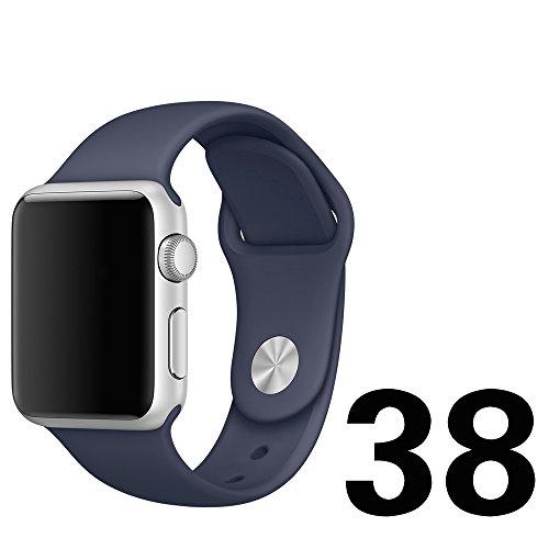 Apple Watch Band、 Otmake Apple Watch バンド 軟質シリコン製 アップルウォッチ バンド スポーツ型バンド 交換用ストラップfor Apple Watch Nike+/ Series1 /Seriies 2 全機種対応  (38mm-Midnight blue)