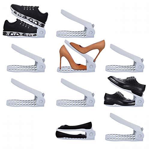 LITTHING 靴ホルダー 省スペース 靴スタンド10個入りシューズ収納高さ調整機能付き下駄箱安定 下駄箱省スペース滑りとめ (グレー)