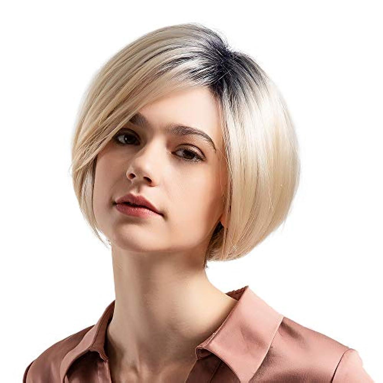 パターン柔らかい管理しますウィッグショートボブストレートヘア50%リアルヘアウィッグ女性のファッショングラデーションウィッグ