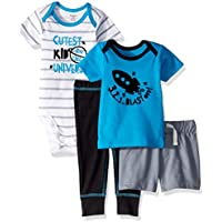Gerber Baby-Boys 4-Piece Shirt, Bodysuit, Short and Pant Pants Set