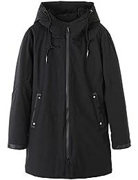 ダウンジャケット コート ロング丈 メンズ フード付き 中綿 裏ボア あったか 防寒 防風 保温 フワフワ ファスナー ウィンドブレーカー 冬用 お出かけ アウトドア トラベル 大きいサイズ 黒