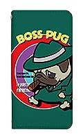 スマホケース 手帳型 [XPERIA XZ3 SO-01L] ケース 手帳 谷口亮 キャラクター ボスパグ かわいい 動物 アニマル 犬 イヌ いぬ デザイン 柄 おしゃれ 0243-B. BossPug02グリーン sov39/801so/so01l カバー エクスペリアxz3 ケース 人気 ベルトなし スマホゴ