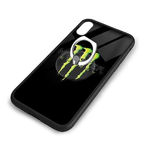 Monster Energy モンスターエナジー IPhoneX XS スマホケース TPUバンパー+背面ガラス レンズ保護 Iphoneケース リング付き ワイヤレス充電対応 滑り防止 黄変防止 すり傷防止 超軽量高耐久アイフォンX/XS スマホケース
