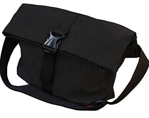 ナイロンキャンバスメッセンジャーバッグ A4サイズ メンズ (ブラック)