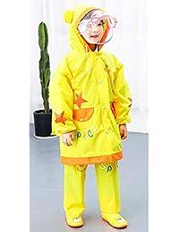 キッズ 子供用レインコート レインウェア 上下セット ズボン付 男の子 女の子 雨具 カッパ ダブル透明なバイザー付 リュック対応 携帯ポーチ付き